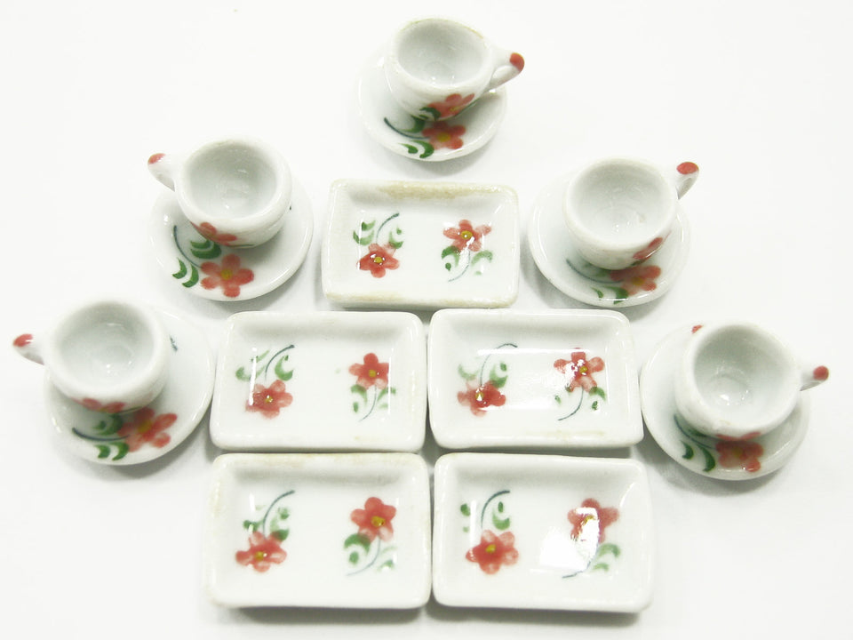 DollHouse Miniature Kitchen Ceramic 15 Mixed Plate Coffee Flower Paint CF00 8057