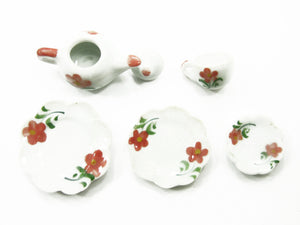 Doll House Miniature Kitchen Ceramic 9 Mixed Plate Coffee Flower Paint CF00 8060