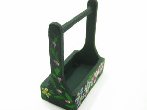 Dolls House Miniature Accessories/Green Wooden Tray With Flower HandPaint 8278