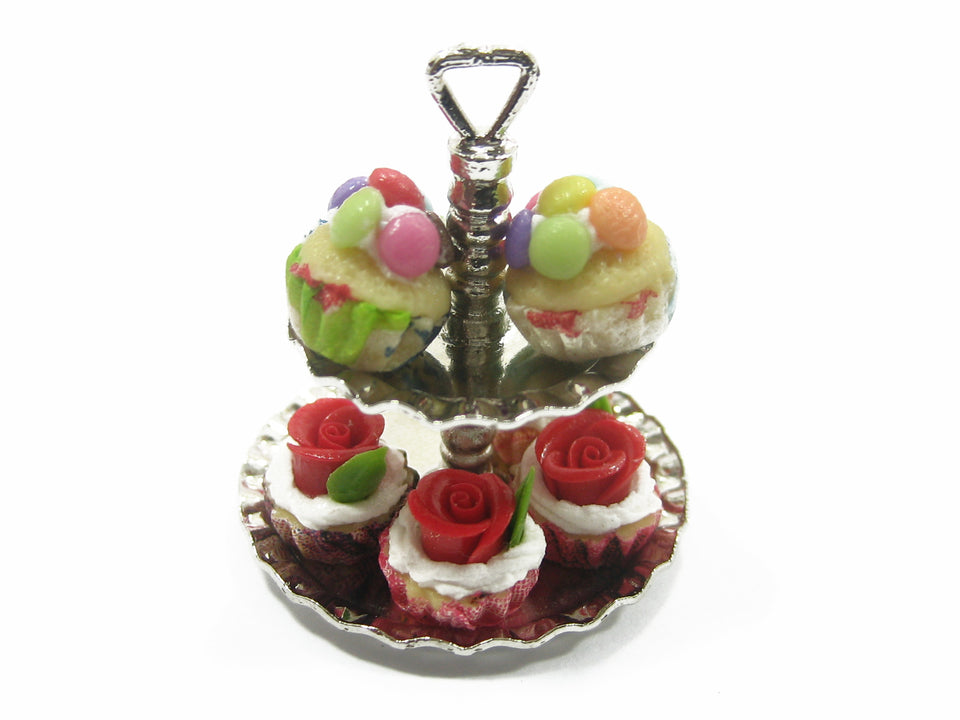 2 Tiers Cake/Bakery Silver Stand Dollhouse Miniatures Supply Food Art Deco 9401