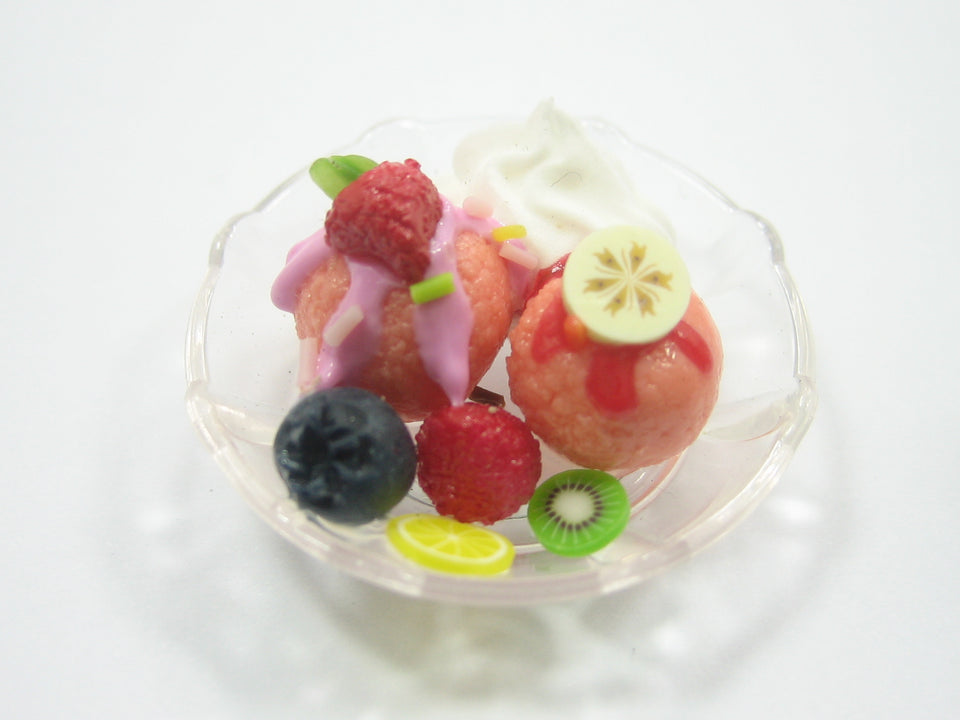 Ice Cream/Food Plate Acrylic Plastic Dollhouse Miniatures Supply Charms
