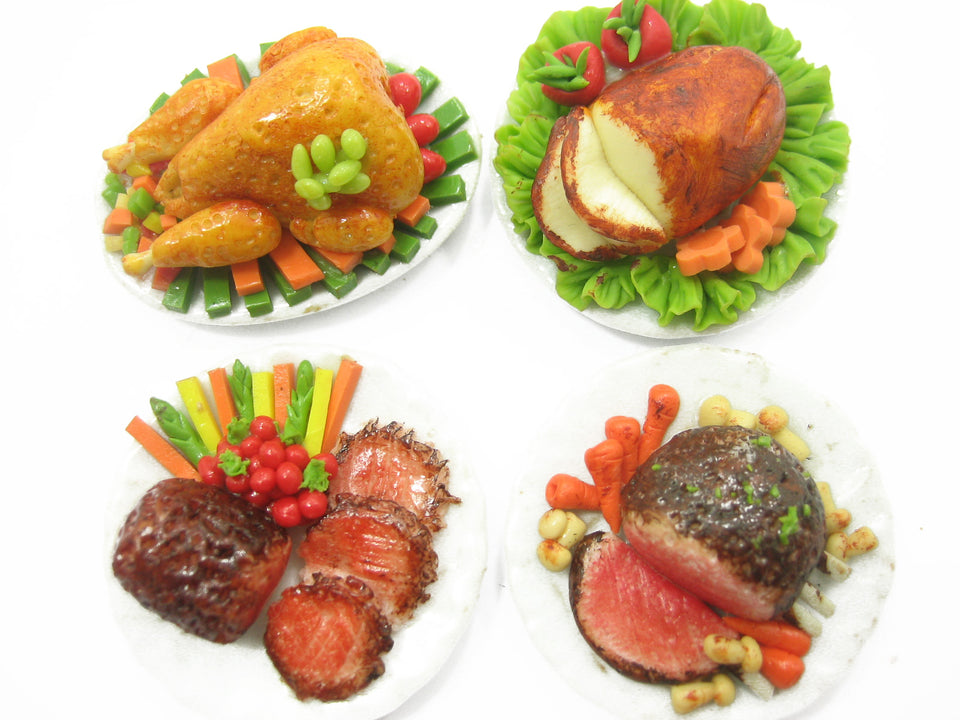 Dolls House Miniatures Set 4 Thanksgiving Food 3.5 cm Steak On Plate 9554
