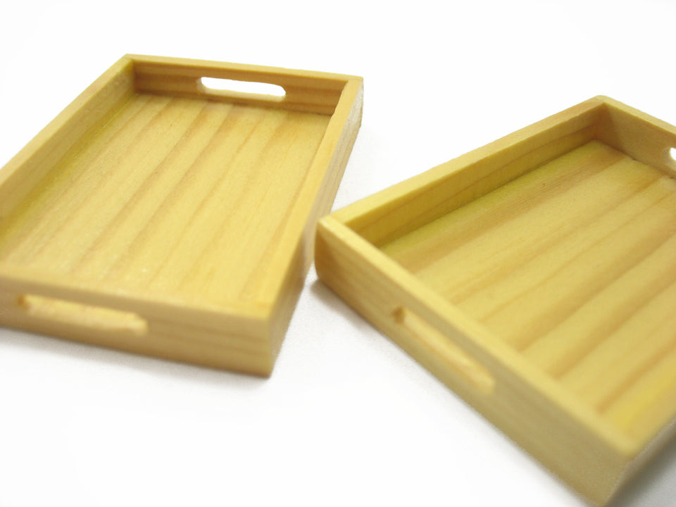 Dollhouse Miniatures 2 Empty Square Wooden Food Serving Tray Supply Charms 9557