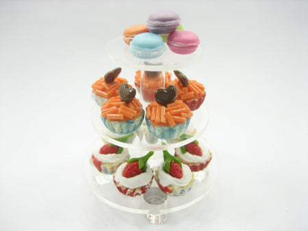 Small Clear Acrylic 3 Tiers Cake/Bakery Stand Dollhouse Miniatures 9972