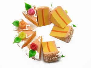 DollHouse Miniature Food 1 Orange Color Rose Cake 8 Cuts Slice 3.5 cm 10032