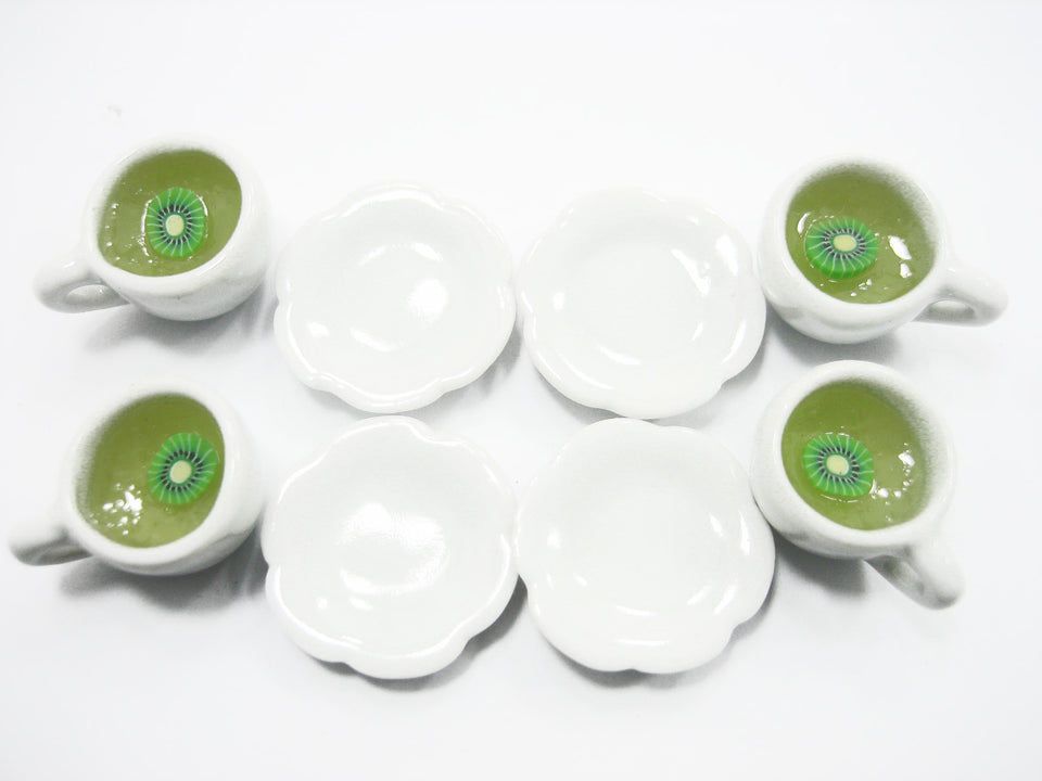 Set 4 Cups Of Hot Kiwi Tea Dollhouse Miniature Food Drink Beverage #M 10052