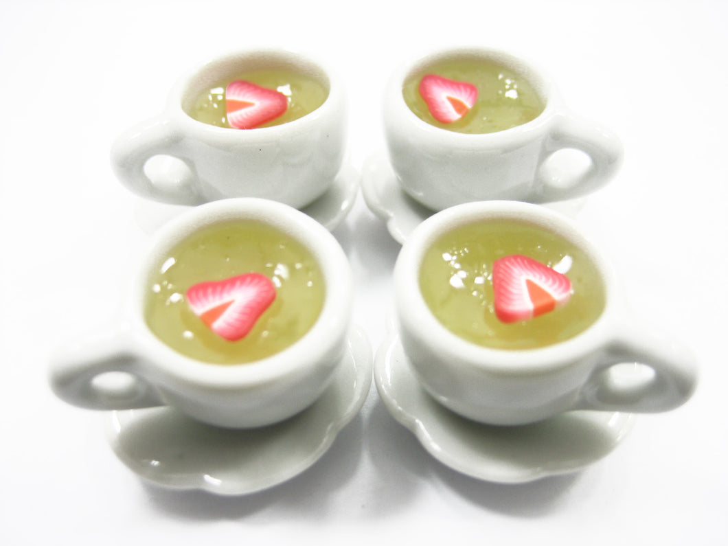 Set 4 Cups Strawberry Tea Dollhouse Miniatures Food Drink Beverage #M 10053