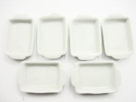 18x25 mm Set White Baking Pan/Tray Dollhouse Miniatures Ceramic