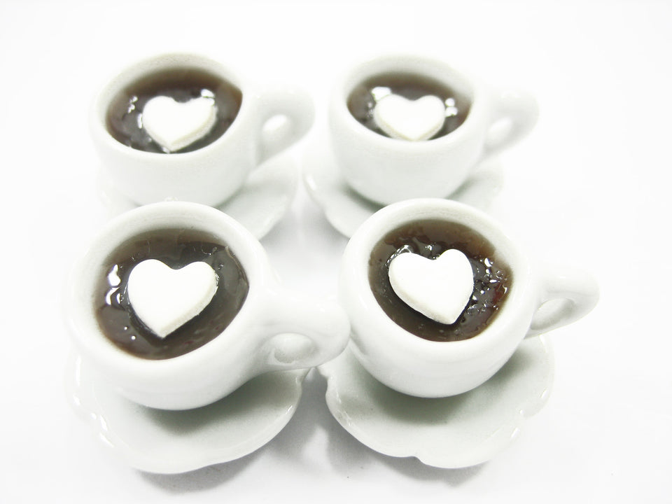 Set 4 Cups Hot Black Coffee Dolls House Miniatures Food Beverage #M 10120