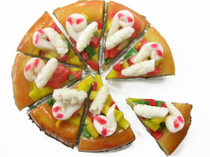 Dolls House Miniatures Food Sea Food Pizza Pan 8 Cuts Slices Supply 10433