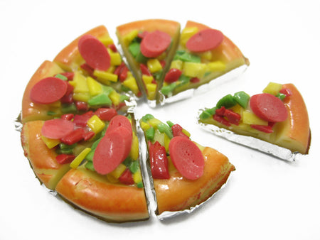 Dollhouse Miniatures Food Mixed Sausage Pizza Pan 8 Cuts Slices Art Deco 10445