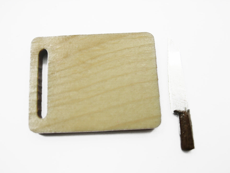 Kitchen Cooking Knife Wooden Cutting Board Dollhouse Miniature Supply 10535