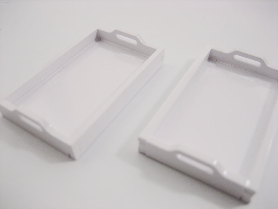 Dollhouse Miniatures 2 Empty White Square Wooden Serving Tray Supply 10538