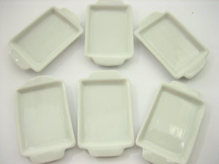 Dollhouse Miniatures 30x40 mm Set White Baking Pan Ceramic Tray