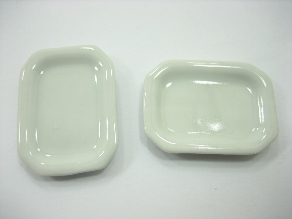 White Rectangle Kitchen Plate Dish 25x35mm Dollhouse Miniature Ceramic