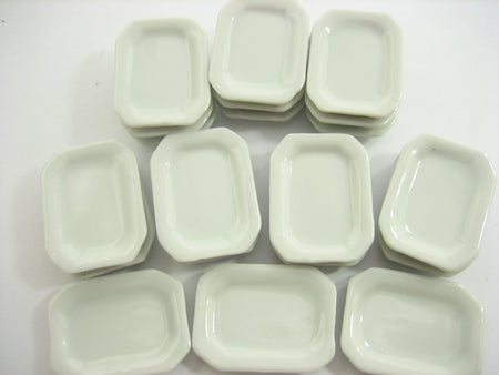 White Rectangle Octagonal Plate Dish 20x27m Dollhouse Miniature Ceramic