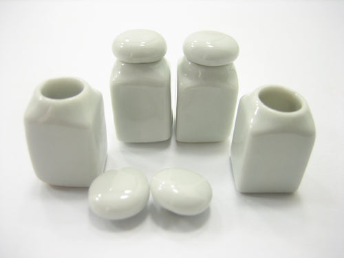 4 White Canister/Cookie Jar Removable Lid Dollhouse Miniature Ceramic 10604