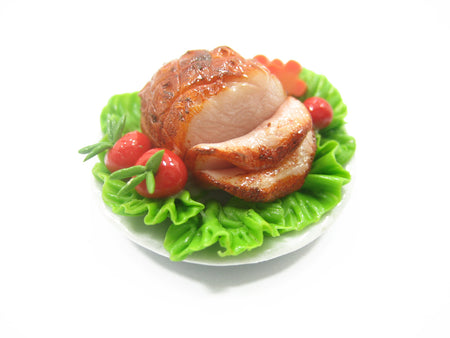 Doll House Miniatures Thanksgiving Food 3.5cm Honey Glazed Ham Steak 10654
