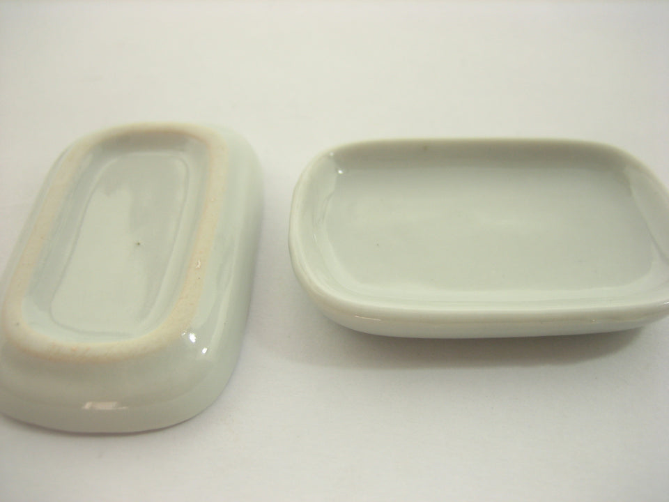 30x50mm Of 6 White Rectangle Plate Tray Dish Dollhouse Miniature Ceramic 10682