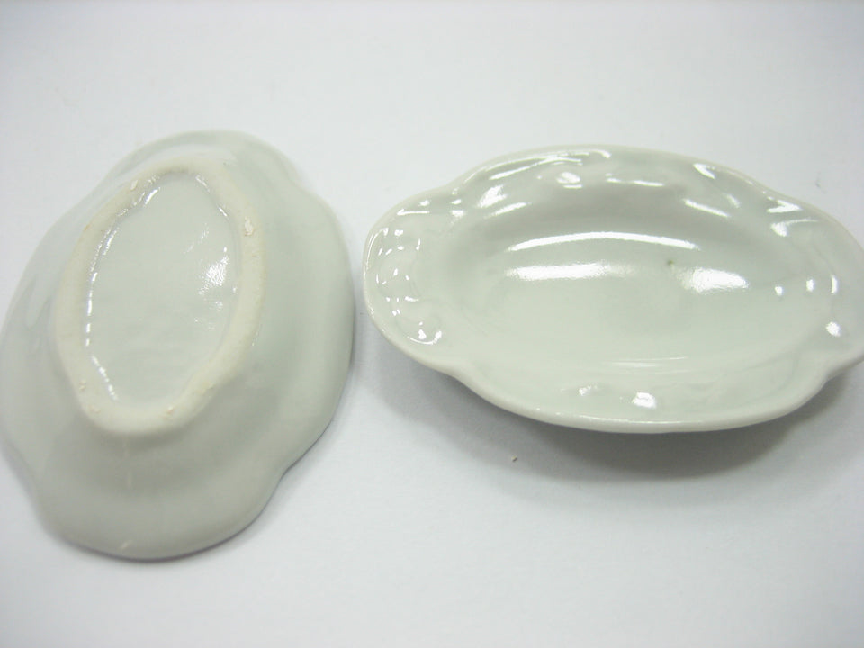 6 White 35mm Oval Large Plate Tray Dish Dollhouse Miniature Barbie 10685