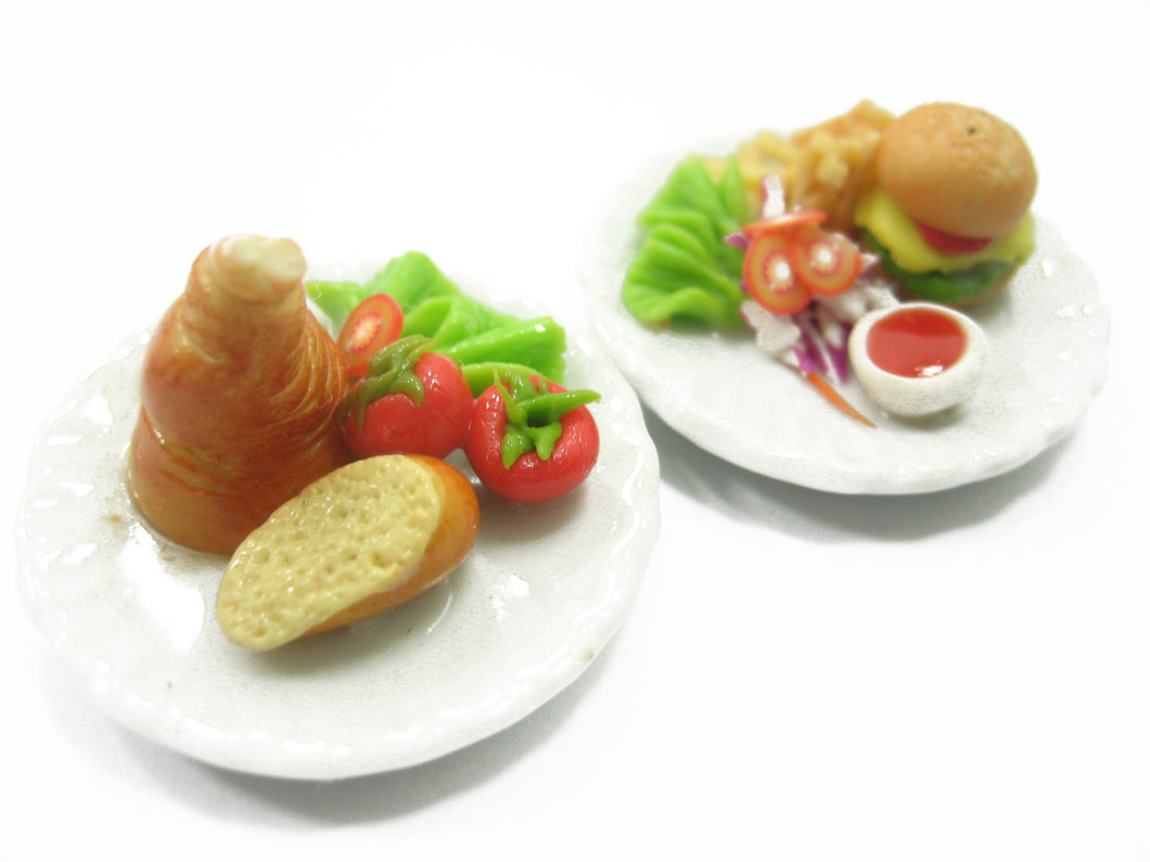 Dollhouse Miniature Food 2 Ceramic Plate Pork Knuckle Hamburger 3.5cm 10715