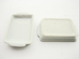 6 White Baking Pan/Tray 20x30 mm Dollhouse Miniatures Ceramic Supply 10883