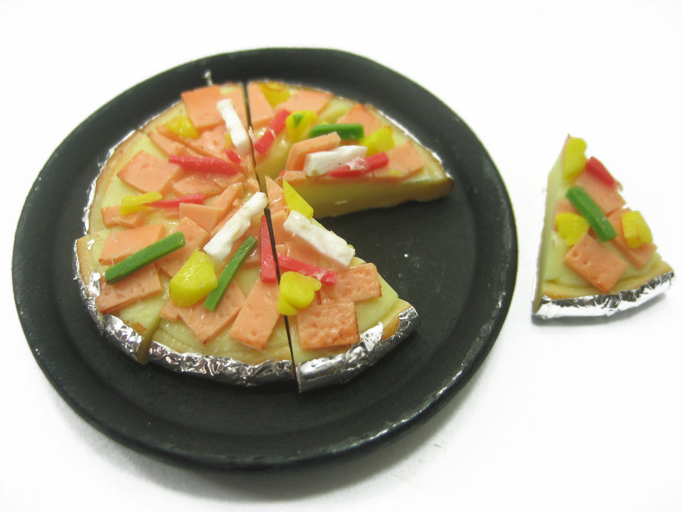 Dolls House Miniatures Food 8 Cuts Ham Bacon Delight On Pizza Hot Pan 10936