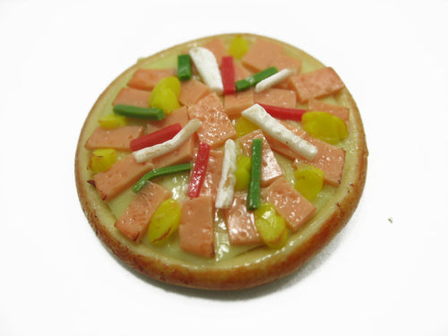 Dollhouse Miniatures Food 1 Bacon Ham Delight Pizza Pan Supply Deco 10937