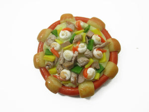 Dollhouse Miniatures Food 1 Sausage Seafood Pizza Pan Supply Deco 10939