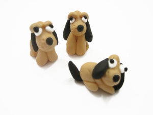 3 Tiny Pluto Dogs Dollhouse Miniature Handmade Polymer Clay Animal 10988