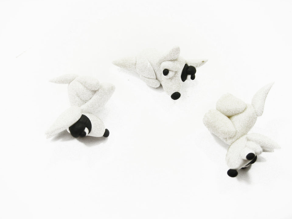 3 Tiny Bull Terrier Dogs Dollhouse Miniature Handmade Clay Animal 10989
