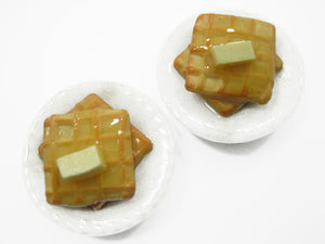 Dollhouse Miniatures Food American Butter Syrup Waffle Ceramic Plate