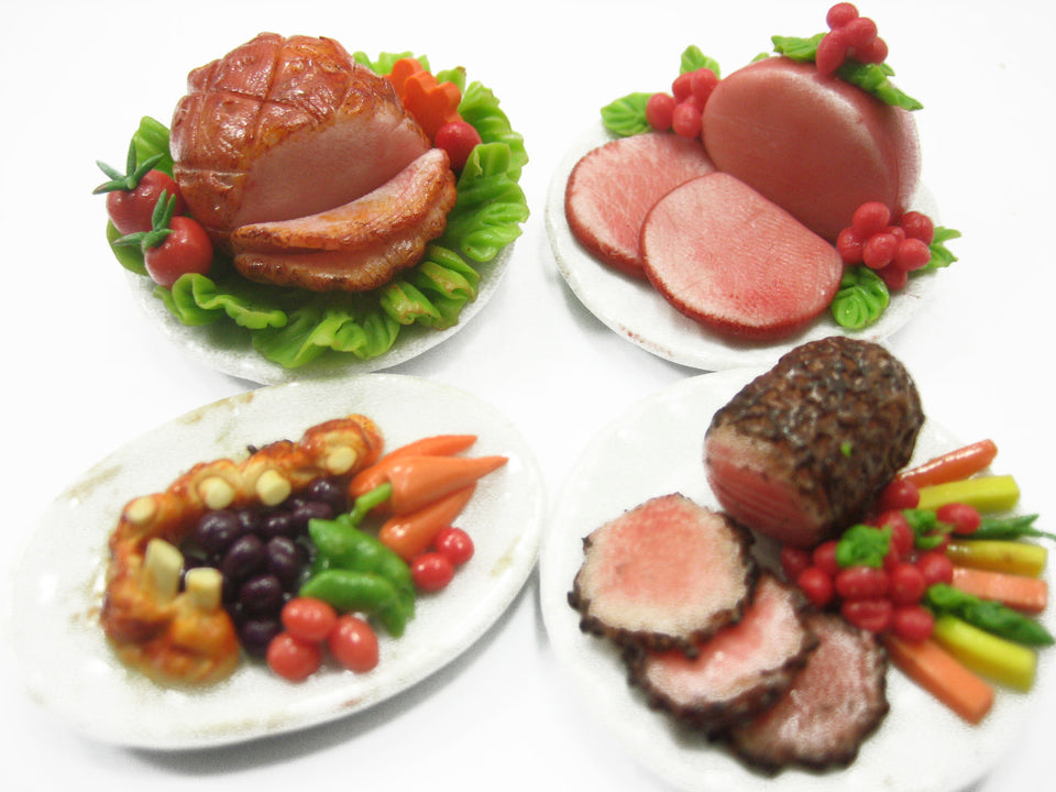Dolls House Miniature Set 4 Thanksgiving Food 3.5 cm XMAS Steak Plate 11211