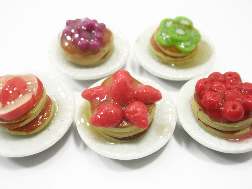 Dollhouse Miniature Food 5 Fruit Waffle Dessert On Ceramic Plate Supply 11271