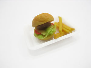 Dollhouse Miniature Food Plastic Tray With Hamburger & French Fried Supply 11736