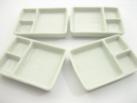Set Of White Ceramic Tray Food Set Dollhouse Miniatures Food Supply
