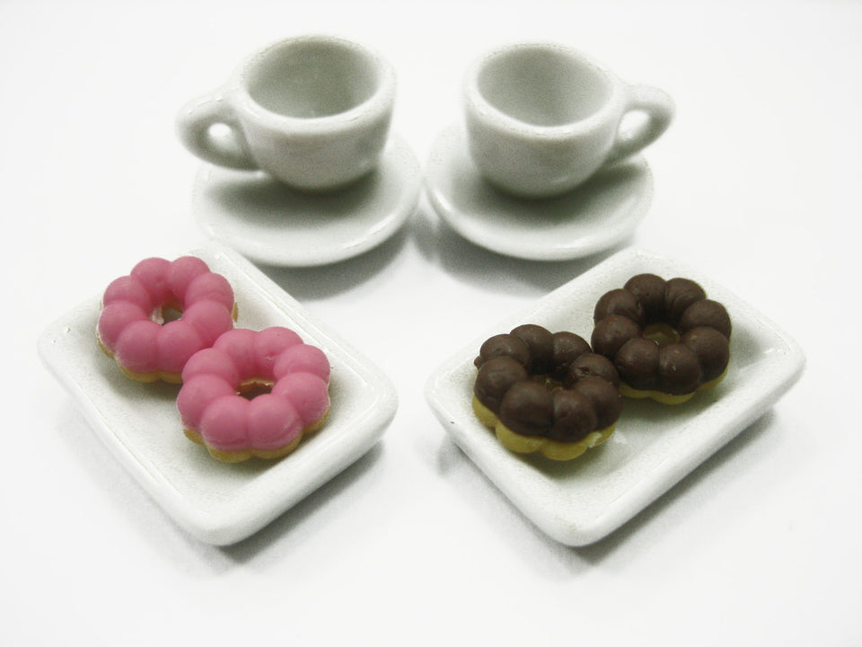 Dollhouse Miniature Food Color Mixed Donut Coffee Ceramic Set Supply 12078