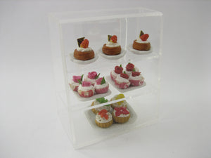 Clear Acrylic Table Bakery Display Counter Shop Dollhouse Miniature Supply 12159
