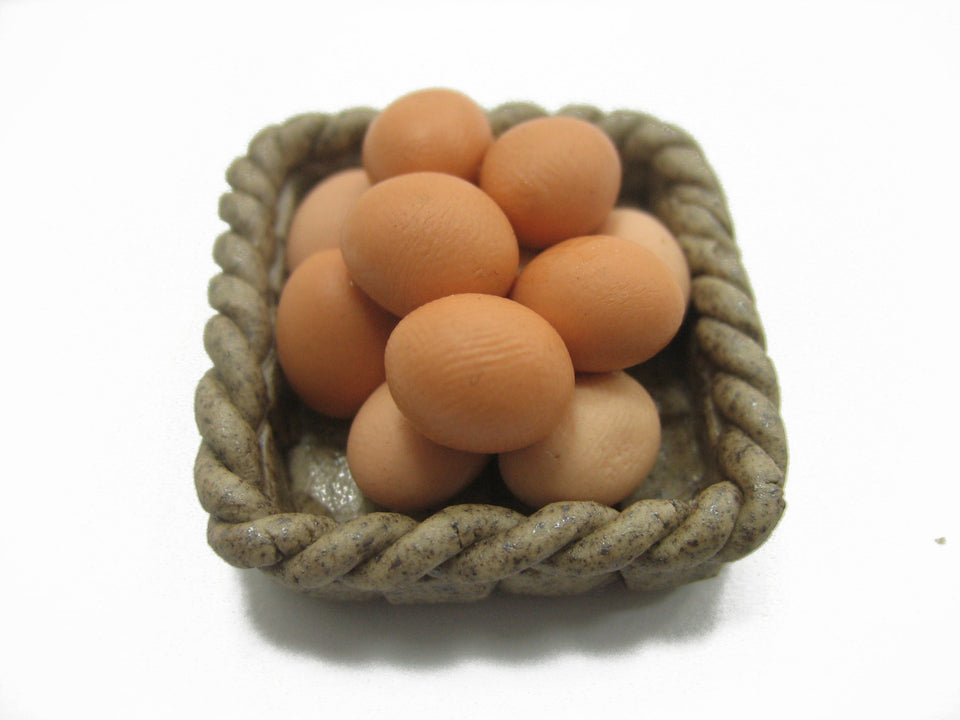 Dollhouse Miniature Food Fresh Eggs Ceramic Basket Kitchen Supply Charms 12161