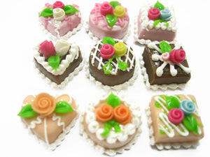 Dollhouse Miniature Food Cakes 9 Assorted Color Rose Cake 1.5cm Supply 12292