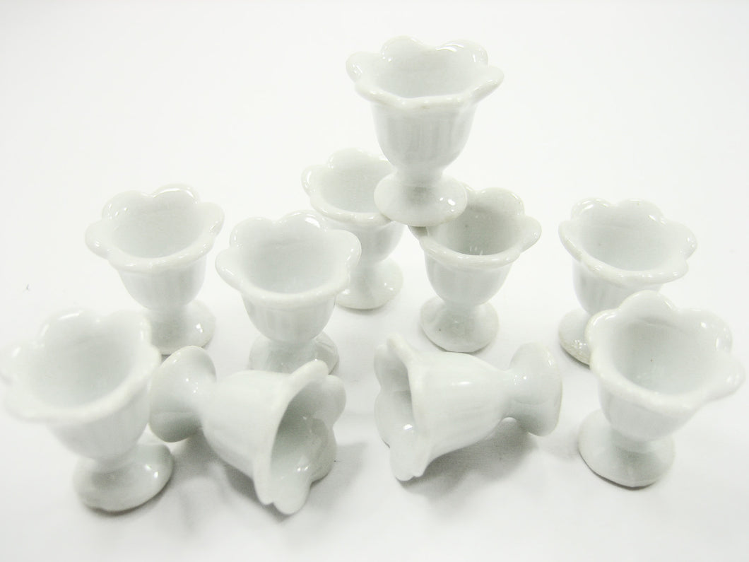 10x15 mm White Ceramic Ice Cream Cups Dollhouse Miniatures Supply 12440