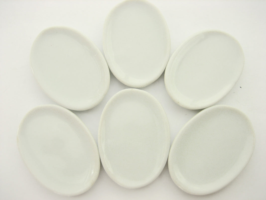 6 White Oval Plate Dish 40mm Dollhouse Miniature Ceramic Supply Kitchen 12444