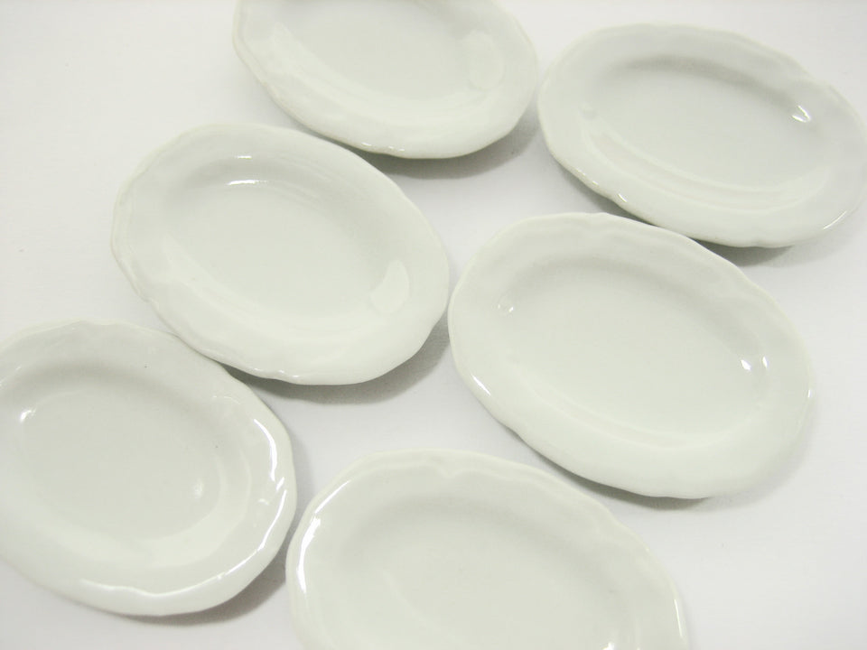 6 Oval Large Plate Dish Dollhouse Miniatures Ceramic Barbie Kitchen Supply 12445