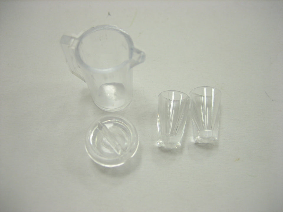 Dollhouse Miniature  1 Jug/ 2 Cup Plastic Beverage Supply Accessories 12452