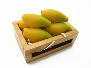 Dollhouse Miniatures Wooden Crate Of Mango Fruit Food Supply Charms 12460