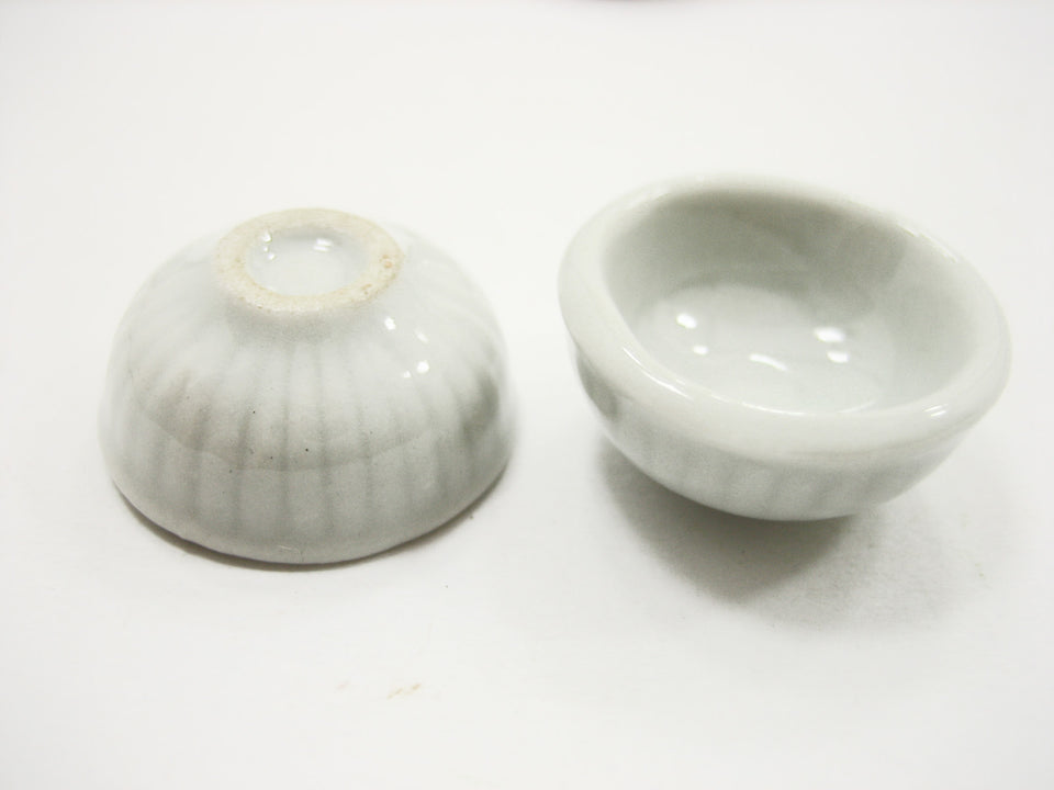 18 mm New Kitchen ware White Bowls Dolls House Miniatures Ceramic