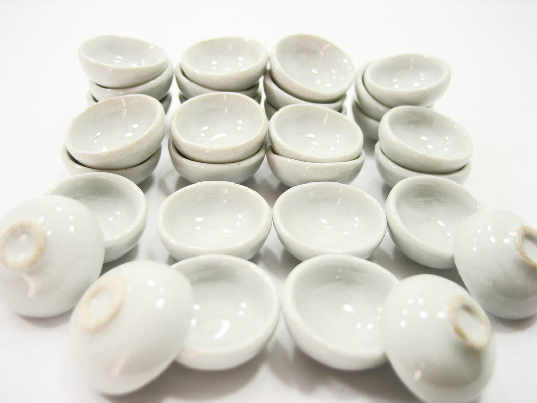 18 mm White Round Bowls Dolls House Miniatures Ceramic Supply