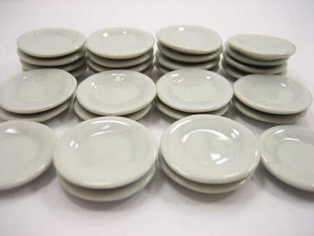 25mm White Round Plate Dish Ceramic Kitchenware Dollhouse Miniature