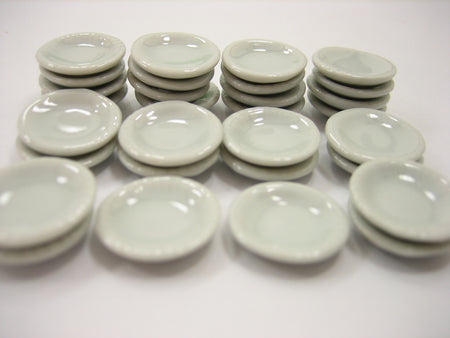 16mm White Round Plate Dish Dollhouse Miniatures Ceramic Kitchenware