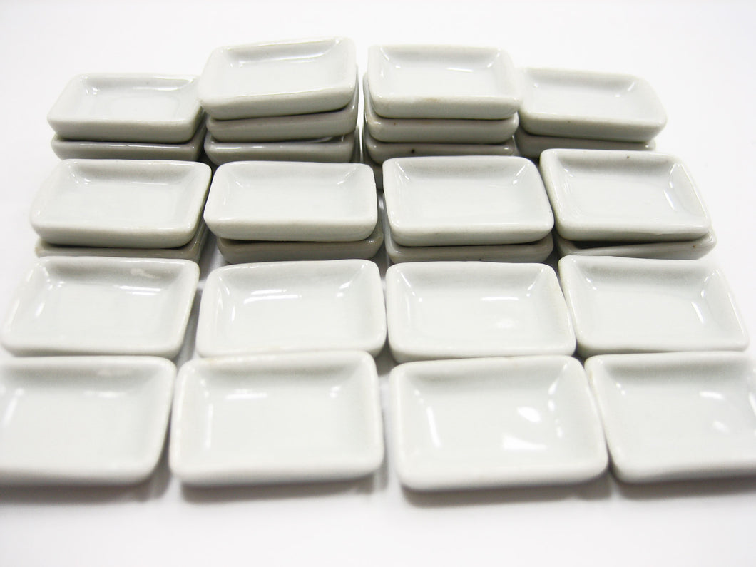 15x20mm White Rectangle Plate Dish Dollhouse Miniature Ceramic Supply